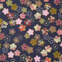 tissu bleu japonais en coton fleurs de sakura fabriqué au Japon largeur 110 cm x 1m