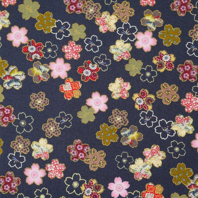 Blue Japanese cotton fabric sakura flowers made in Japan width 110 cm x 1m