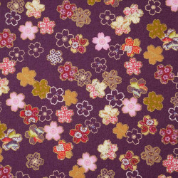 Purple Japanese cotton fabric sakura flowers made in Japan width 110 cm x 1m