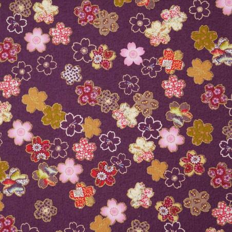 tissu violet japonais en coton fleurs de sakura fabriqué au Japon largeur 110 cm x 1m