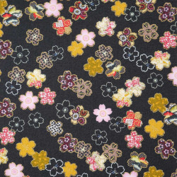 Schwarzer Japanischer Baumwollstoff, hergestellt in Japan, Sakura