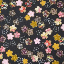 Tessuto nero giapponese, 100% cotone, motivo Sakura