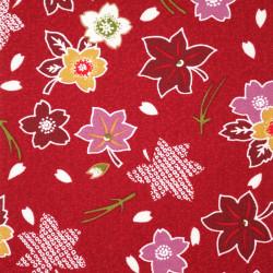 Tessuto rosso giapponese, 100% cotone, motivo sakura e momiji