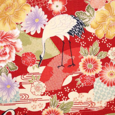 tissu rouge japonais en coton grues et fleurs fabriqué au Japon largeur 110 cm x 1m