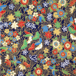 tissu japonais en coton motifs matsu fleurs papillons fabriqué au Japon largeur 112 cm x 1m