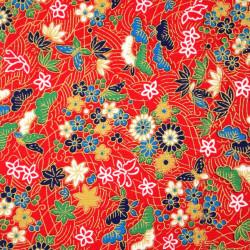 Tessuto rosso giapponese, fantasia 100% cotone, fiori e farfalle