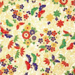 tissu blanc japonais en coton motifs matsu fleurs papillons fabriqué au Japon largeur 112 cm x 1m