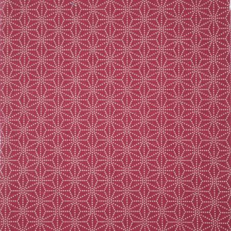 Red Japanese cotton fabric asanoha sashiko patterns made in Japan width 112 cm x 1m
