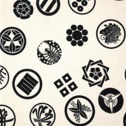 Weißer Japanischer Baumwollstoff, hergestellt in Japan, Kamon