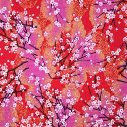 tissu rouge japonais en coton branches petites fleurs fabriqué au Japon largeur 112 cm x 1m