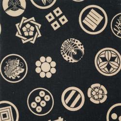 Schwarzer Japanischer Baumwollstoff, hergestellt in Japan, Kamon