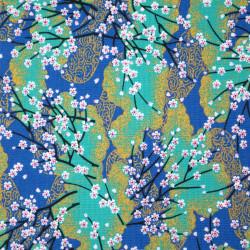 tissu bleu japonais en coton branches petites fleurs fabriqué au Japon largeur 112 cm x 1m