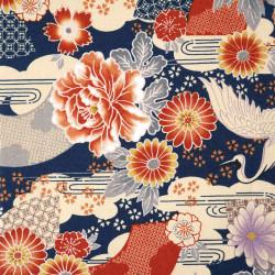 tissu bleu japonais en coton grues et fleurs fabriqué au Japon largeur 110 cm x 1m