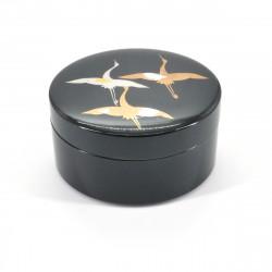boîte à bijoux noire japonaise, HISHO, grue
