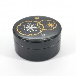 boîte à bijoux noire japonaise, YUKIWA, flocon de neige