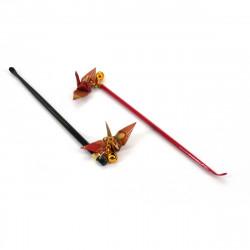 Gratte-oreille japonais avec grue origami, Mimikaki, ORIZURU, noir ou rouge