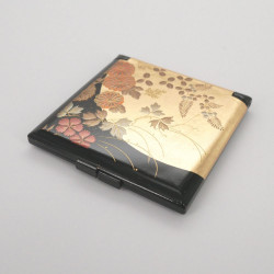 black pocket mirror, HANANO, flowers