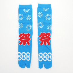 Japanese tabi cotton socks, MATSURI, blue