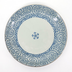 japanese blue patterns white round plate Ø26,5cm TAKO KARAKUSA