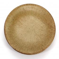 Japanische runde Keramikplatte, SENDAN, braun
