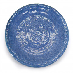 medium-sized round plate blue SETSUREI MIGIME