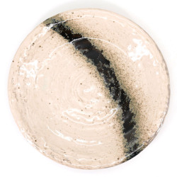 japanese white round plate in ceramic, GINGA, black lines