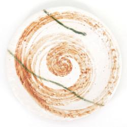 assiette blanche et orange ronde japonaise en céramique, HISUI, tourbillon