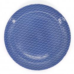japanische blaue runde platte aus keramik, SEIGAIHA, wellen
