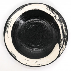 japanese black noodle ramen plate, KURO, white brush