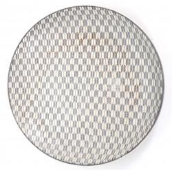 Japanische runde Keramikplatte, YAGASURI, weiß
