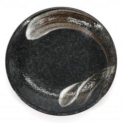 assiette noire japonaise en céramique Ø23cm, ARAHAKE, pinceau