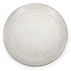 Japanese round plate, KODAI SEIGAIHA, white
