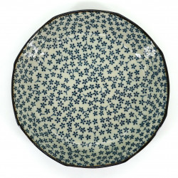 japanese soup plate, HANA, blue and gray