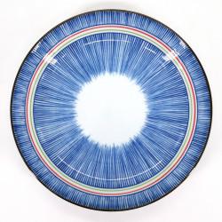 Japanische blaue keramische runde Platte, TOKUSA, bunte Linien