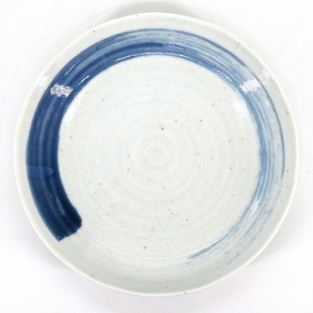 white japanese round plate in ceramic, KIYOSE, blue brush