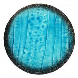 Japanese round ceramic plate, LAGOON, turquoise blue