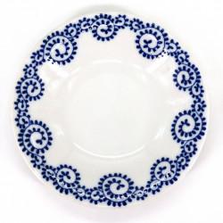 small round Japanese plate, TAKO KARAKUSA, white