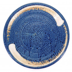 blue japanese round plate, UZUMAKI, orange brush