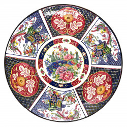 Japanese large-sized plate with colour patterns and flowers in ceramic GOSHOGURUMA