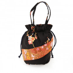 Black traditional Japanese style kimono bag in polyester cotton, POUCH, random patterns