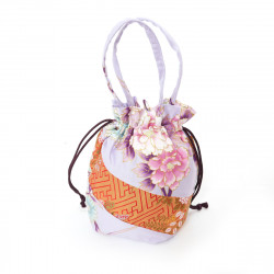 Japanese traditional style pink kimono bag in polyester cotton, POUCH, random patterns