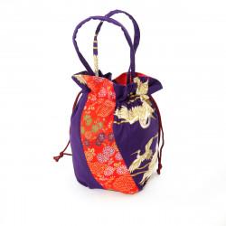 sac kimono style traditionnel japonais violet en coton polyester