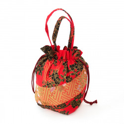 sac kimono style traditionnel japonais rouge en coton polyester