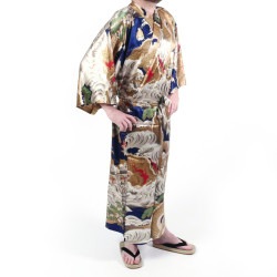 Japanese traditional blue kimono in silk dragon for men