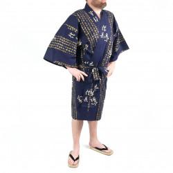 Kimono blu giapponese tradizionale Happi in cotone kanji hideyoshi per uomo