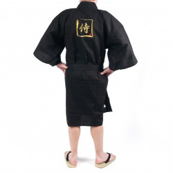 Happi kimono black kanji gold samurai cotton shantung japanese for men
