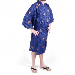 Happi traditioneller japanischer blauer Baumwollkimono mit Rautenmustern und Kanji für Männer