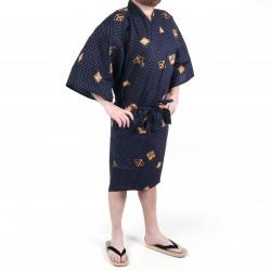 Kimono de algodón negro tradicional japonés Happi con patrones de diamantes y kanji para hombres