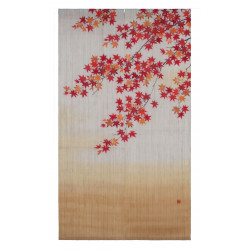 Noren in Hemp, hand painted,KOYO NO UTAGE, Autumn Leaves