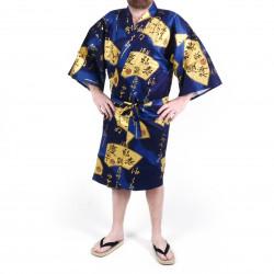 Japanese blue cotton happi coat kimono SENSU, golden fan, for men